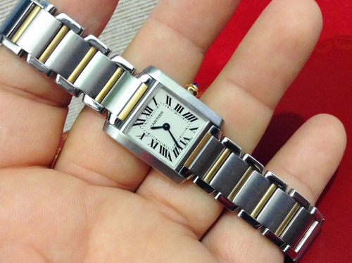 cartier tank frances acero oro dama impecable y bello 9cito