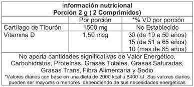 cartilago de tiburon vita tech  30 comprimidos