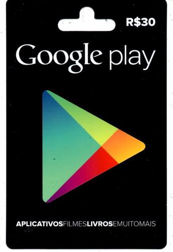 cartão 30 reais google play
