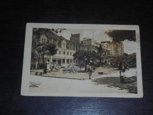 cartão bilhete postal frente do grande hotel guarujá