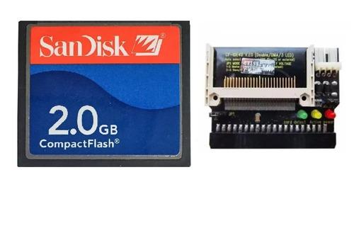 cartão compact flash sandisk cf 2gb adaptador ide