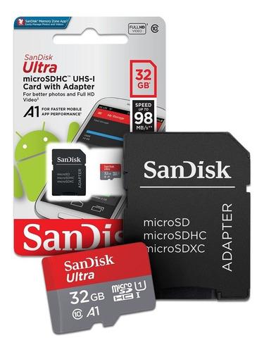 cartão de memoria 32gb micro sd cl10 98mb/s sdsquar sandisk