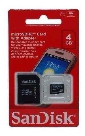cartão de memória micro sdhc with adapter sandisk 4 gb