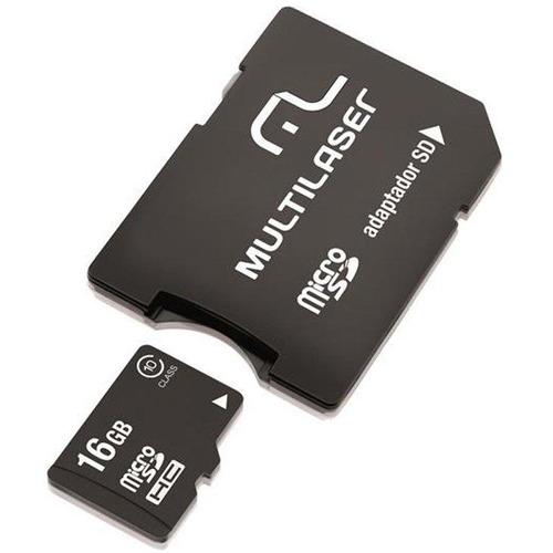cartão de memória microsd 16 gb + adaptador sd multilaser