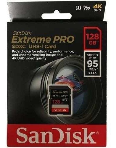 cartão de memória sandisk extreme pro de 128gb de 95mb/s