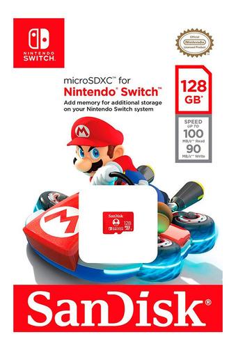 cartão de memória sandisk uhs-i switch 128gb nintendo switch