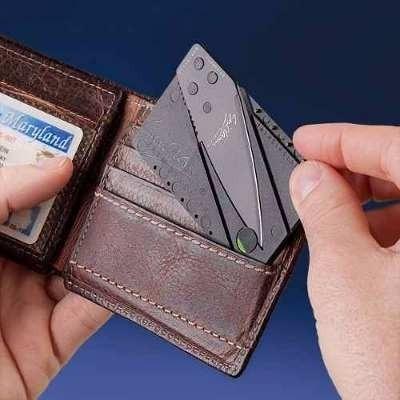 cartão faca lamina afiada dobrável carteira frete gratis