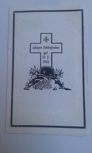 cartão falecimento soldado alemão ww2 johann schoghuber