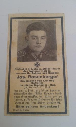 cartão falecimento soldado alemão ww2 jos. rosenberger