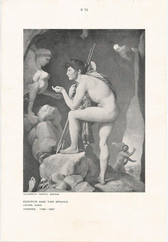cartão foto - credipus and the sphinx  -  louvre - paris.
