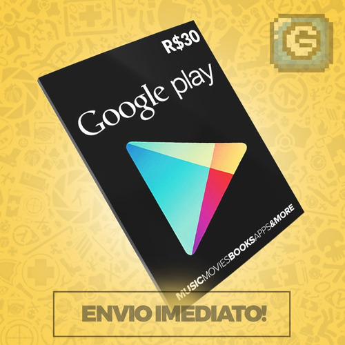 cartão google play store gift card r$30 reais br android