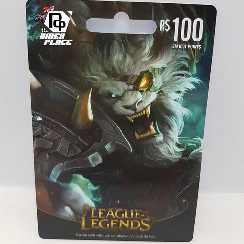 cartão league of legends  r$ 100 5.770 riot points lol rp br