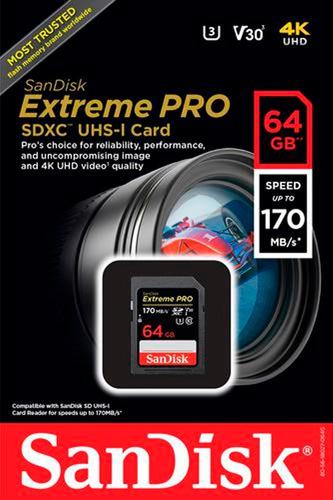 cartão memória lacrado 64gb sdxc sandisk extreme pro 170mbs