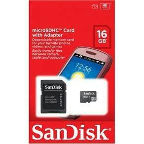 cartão memória micro 16gb sandisk
