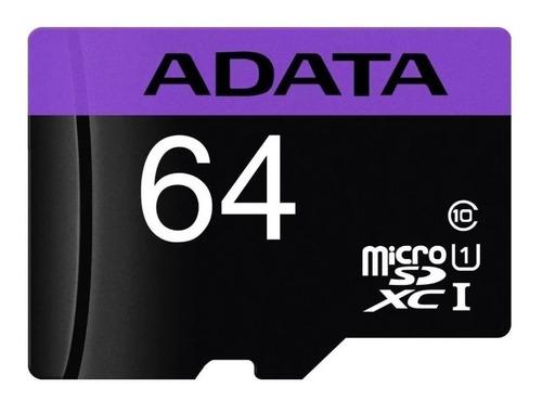 cartão memória micro sd a-data 64gb + 1 adpt. class 10