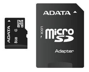 cartão memoria micro sd a-data 8gb + 1 adpt. class 4