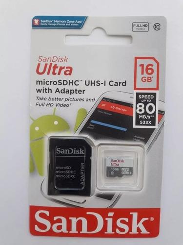 cartão memória sandisk 16gb sdsquns-016g-gn3ma 80mb/s