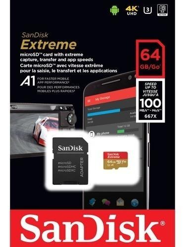 cartão memória sandisk 64gb extreme uhs-i micro sd xc 100mbs