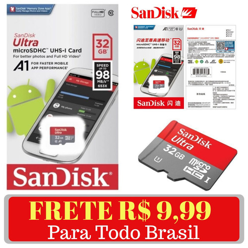 cartão memória sandisk micro sd ultra 32gb 98mb classe 10