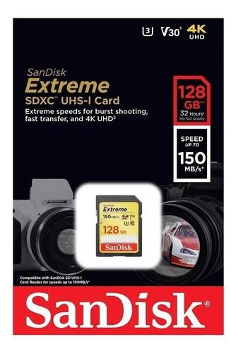 cartão memória sandisk sd xc 128gb extreme uhs-i