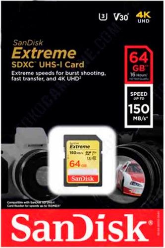 cartão memória sdxc 64gb sandisk extreme 150mb/s lacrado