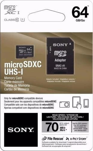 cartão memória sony 64gb 70mb/s micro sdxc classe 10 canon