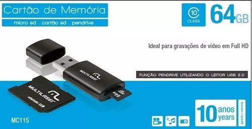 cartão micro de memória 64gb cla10 multilaser