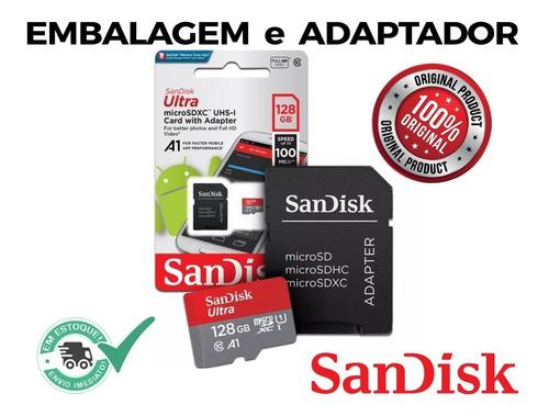 cartão micro sd 128gb lacrado original 100mb/s a1 smartphone