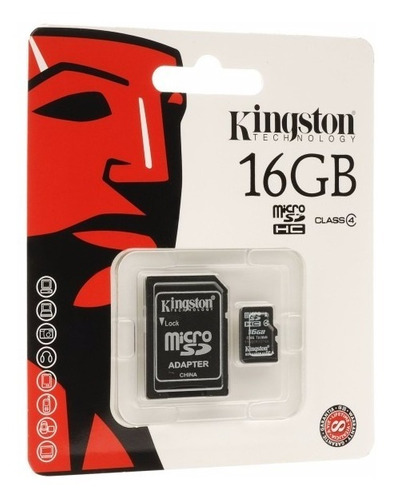 cartão micro sd 16gb kingston classe 4 - original