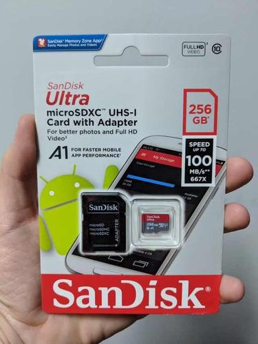 cartão micro sd 256gb original 100mb/s sandisk na embalagem