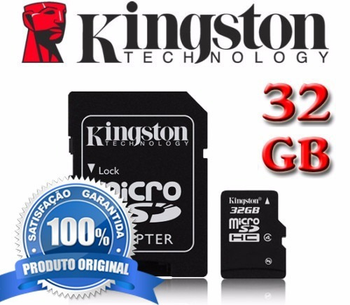 cartão micro sd 32gb kingston classe10 45mbs original