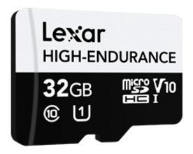 cartão micro sd lexar® high endurance c. segurança - 32gb