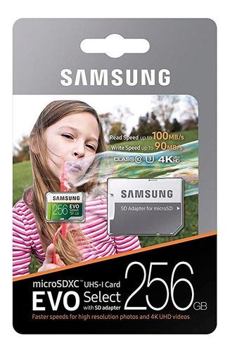 cartão micro sd samsung 256gb 100mb u3 4k lacrado