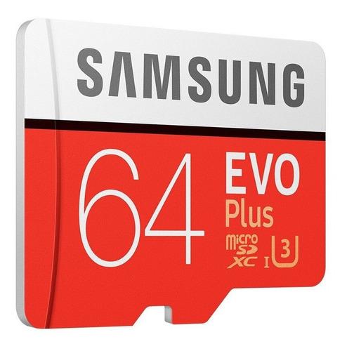 cartão micro sd samsung sdxc evo plus 64gb 100mb/s uhs-i u3