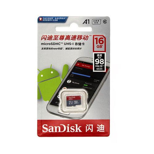 cartão micro sd sdhc sandisk ultra 16gb classe 10 98mb/s a1