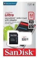 cartão micro sd ultra 32gb classe 10 80mbs sandisk + nota