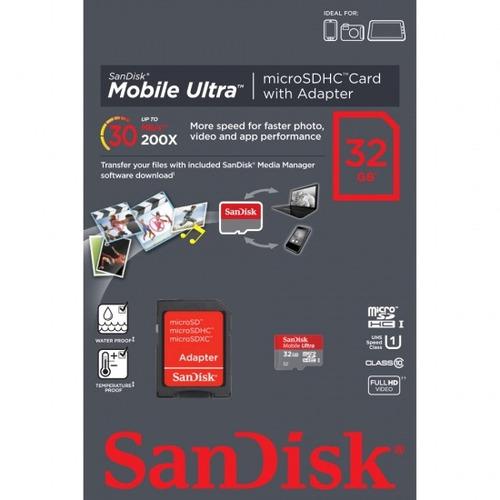 cartão micro sdxc 32gb ultra sd sandisk classe 10 30mb/s