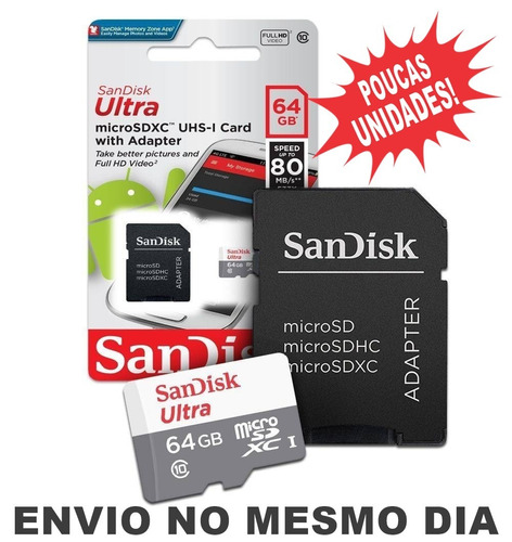cartão micro sdxc 64gb ultra sd classe 10 80mb/s lacrado