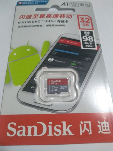 cartão micro sdxc sandisk ultra 32gb c10 u1 a1 98mbs