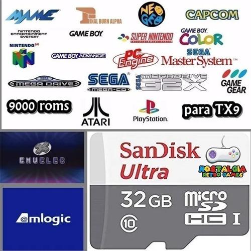 cartão microsd 32gb emuelec boot p/ tv box tx3 amlogic  tx9