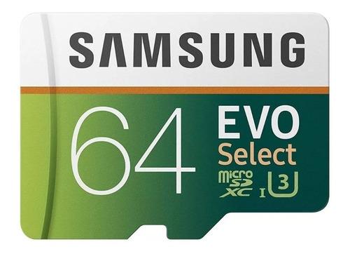 cartão microsd samsung 64gb evoselect uhs-i 100mb/s original