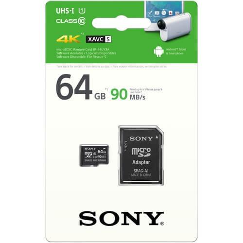 cartão microsdxc sony 16gb 90mb/s uhs-i 4k xavc s (sr-uy3a)