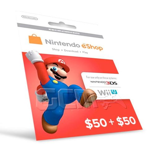 cartão nintendo 3ds - wii u eshop cash card $100 - 2x 50$
