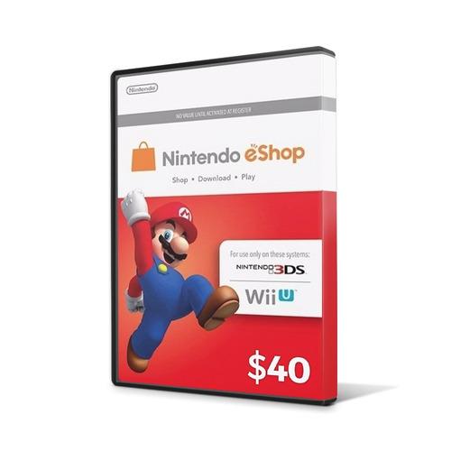cartão nintendo 3ds - wii u eshop cash card $40 ($20+$20) us