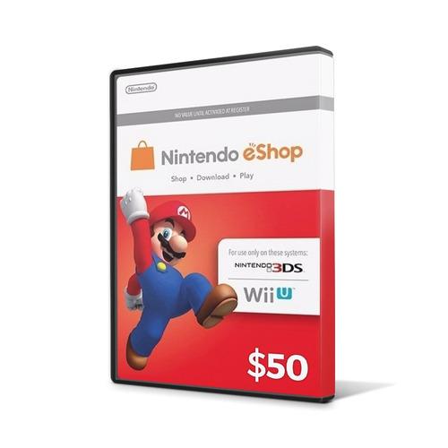 cartão nintendo 3ds - wii u eshop cash card $50 - envio 24hs