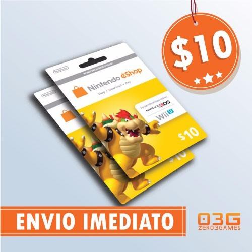 cartão nintendo switch 3ds wii u eshop card $10 imediato!