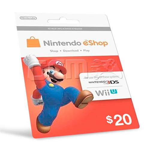 cartão nintendo switch 3ds wii u eshop card usa $20 dólares