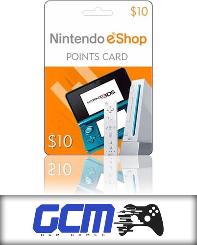 cartão nintendo usa 3ds - wii u eshop cash card $10 dólares