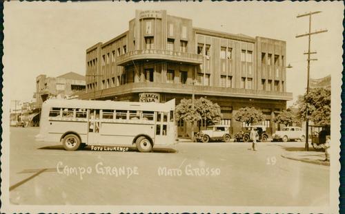 cartão postal antigo campo grande ms ônibus e automóveis
