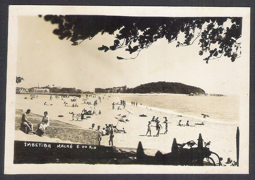 cartão postal antigo imbetiba macaé e. do rio. praia